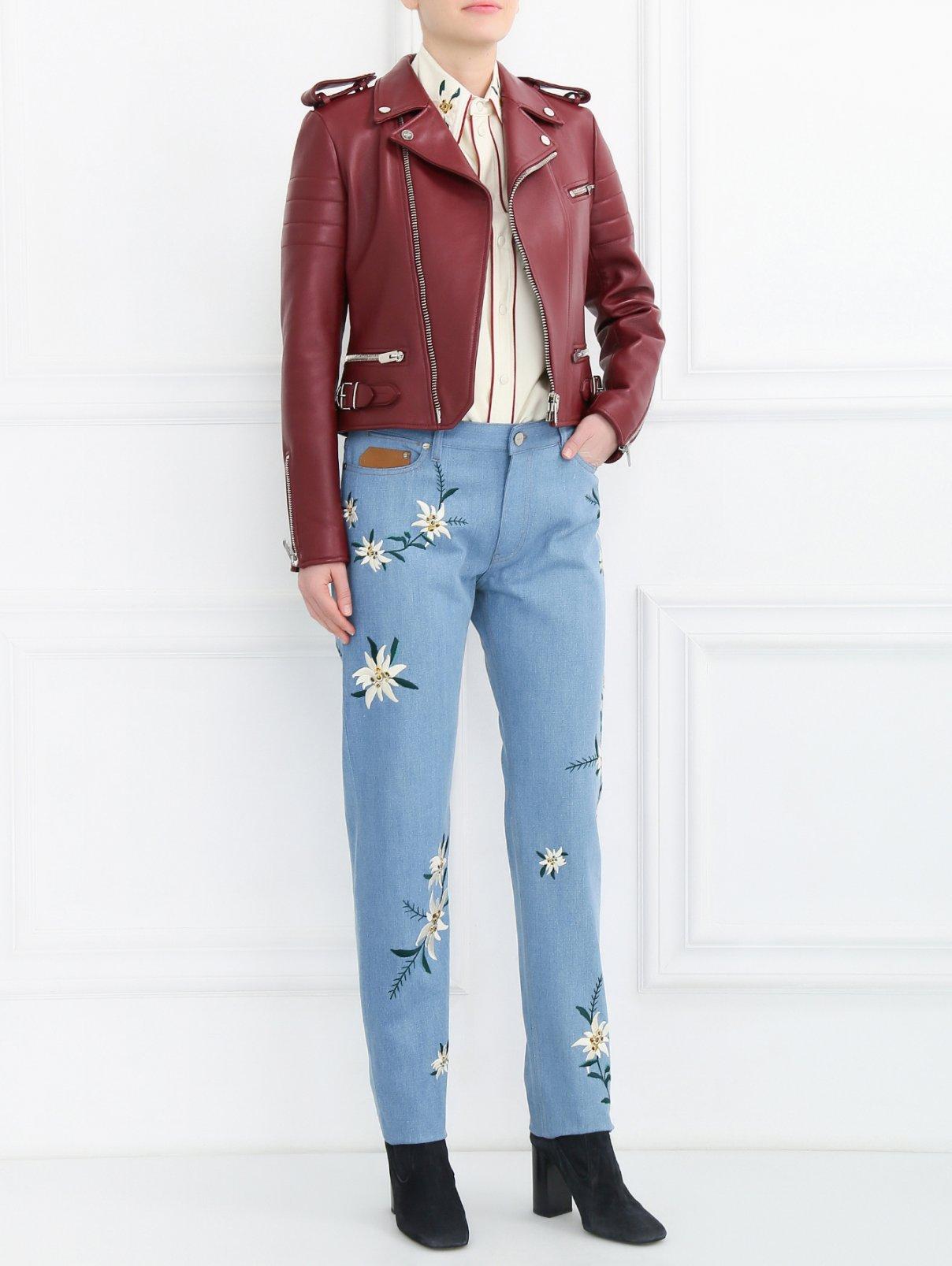 Джинсы прямого кроя с вышивкой Bally  –  Модель Общий вид  – Цвет:  Синий