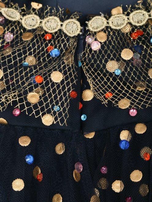 Платье-макси из сетки декорированное кристаллами - Деталь1