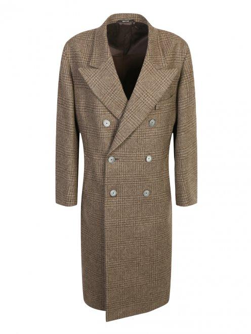 """Двубортное пальто из шерсти с узором """"клетка"""" - Общий вид"""