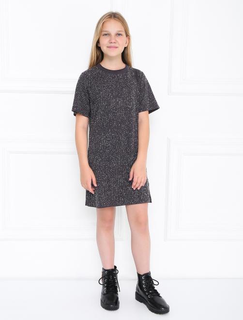 Платье трикотажное со стразами - Общий вид