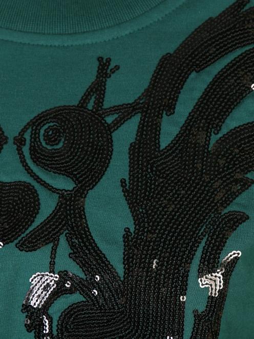 Свитшот из хлопка с аппликацией из пайеток - Деталь