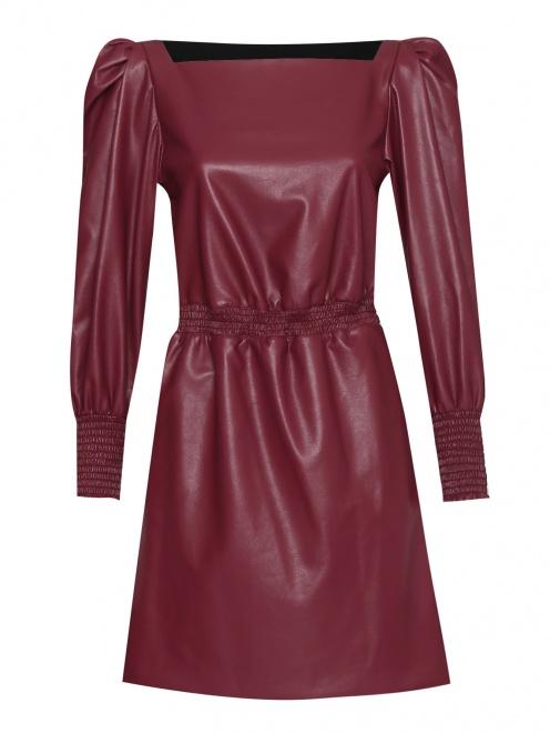 Платье из эко-кожи с объемными рукавами  - Общий вид