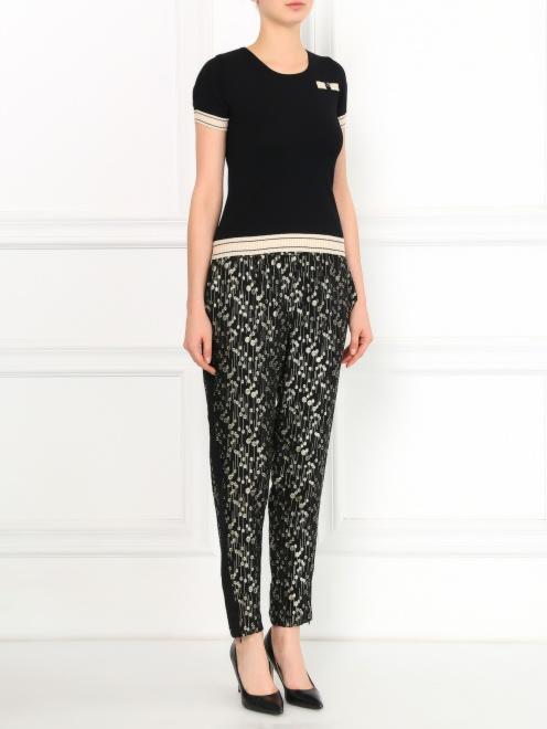 Шелковые брюки с узором на резинке - Общий вид