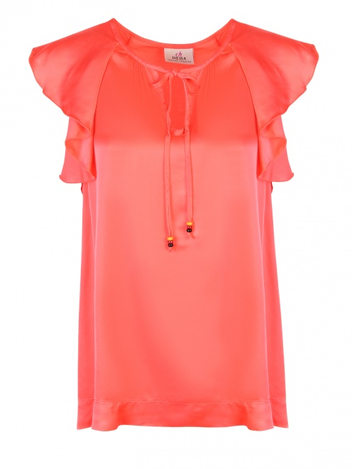 Блуза из вискозы с воланом - Общий вид