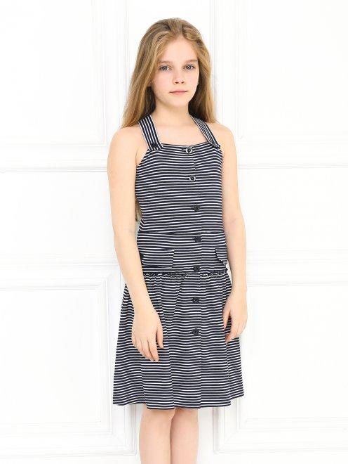 Платье трикотажное на пуговицах - МодельВерхНиз