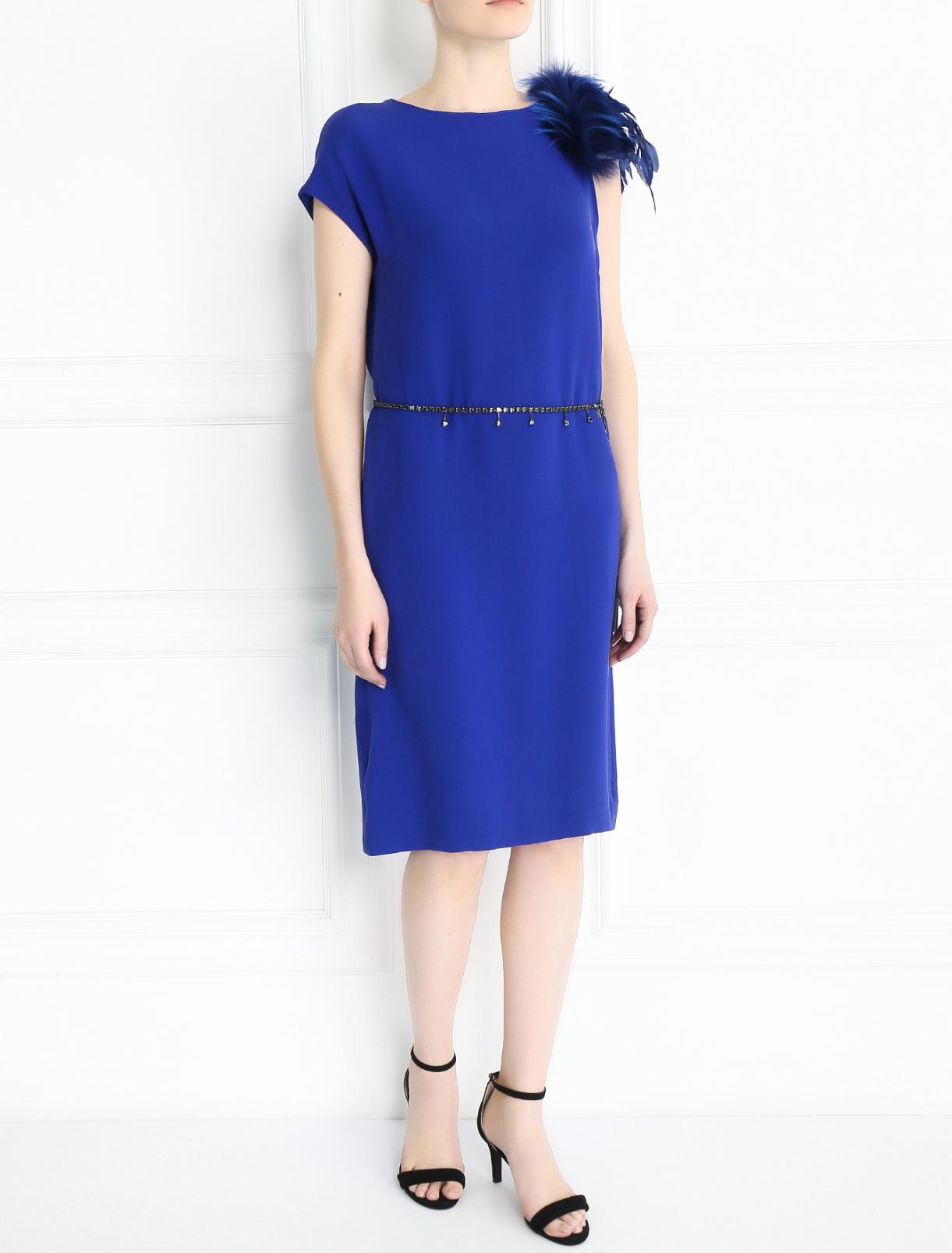Платье прямого кроя декорированное перьями Yves Salomon  –  Модель Общий вид  – Цвет:  Синий