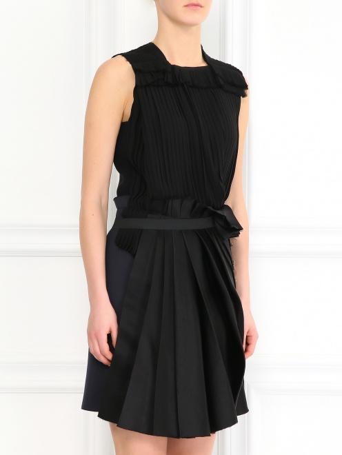 Платье из шелка декорированное кристаллами - Модель Верх-Низ