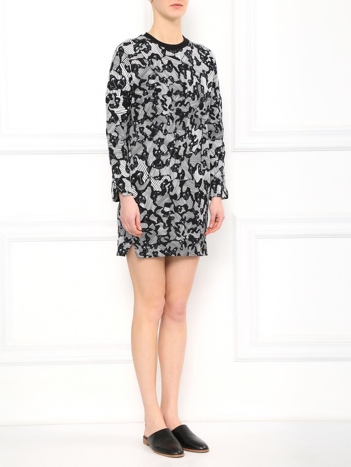Платье-мини из хлопка свободного фасона с узором Kenzo  –  Модель Общий вид