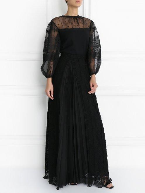 Кружевная юбка из шерсти - Модель Общий вид