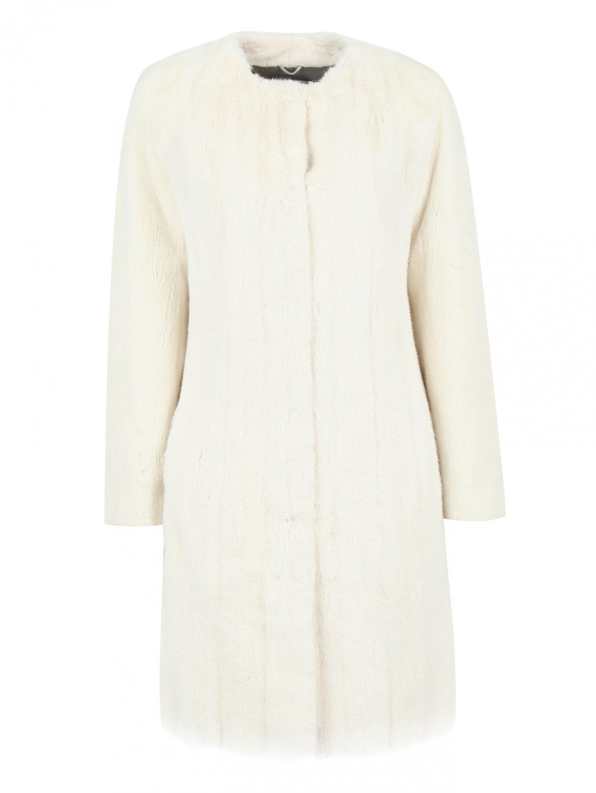 Шуба из меха норки с карманами Yves Salomon  –  Общий вид  – Цвет:  Белый