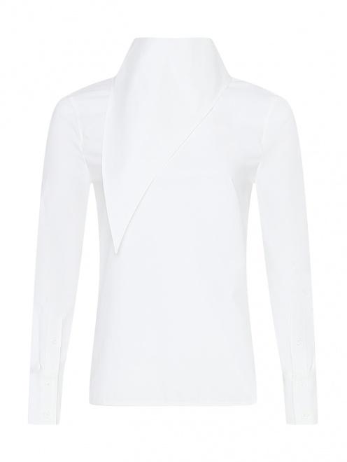 Рубашка из хлопка с декоративным воротом - Общий вид