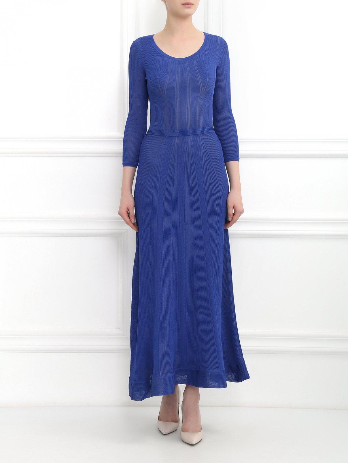 Трикотажное платье-макси с рукавами 3/4 Alberta Ferretti  –  Модель Общий вид