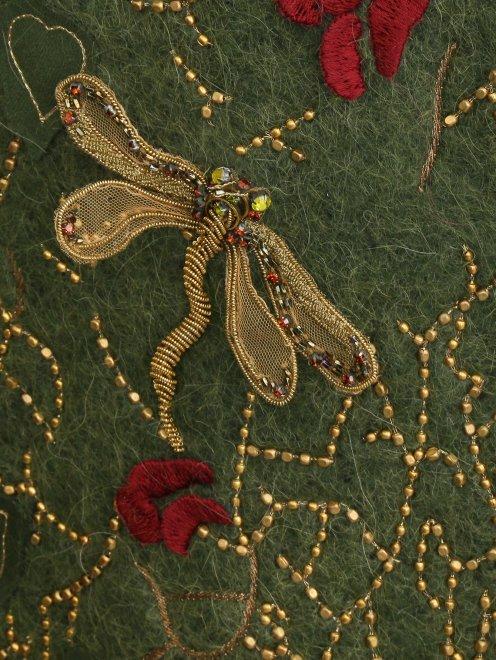 Пальто из шерсти с боковыми карманами декорированное вышивкой  - Деталь