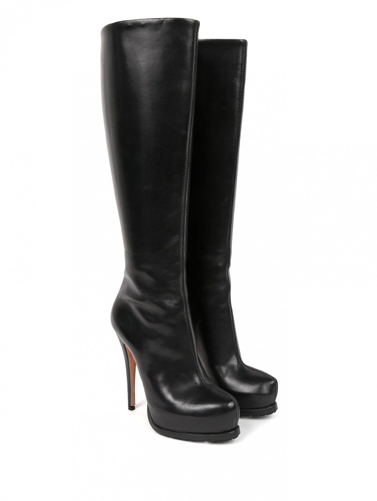 Сапоги из гладкой кожи на высоком каблуке Sebastian  –  Общий вид  – Цвет:  Черный