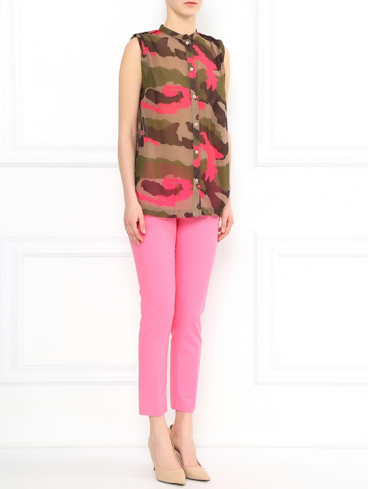 Укороченные брюки из хлопка с боковыми карманами Moschino Cheap&Chic  –  Модель Общий вид