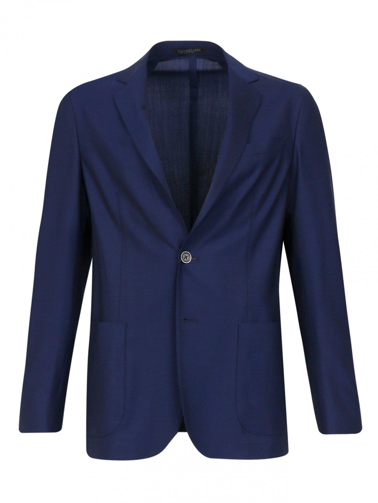 Пиджак из тонкой шерсти Corneliani ID  –  Общий вид  – Цвет:  Синий