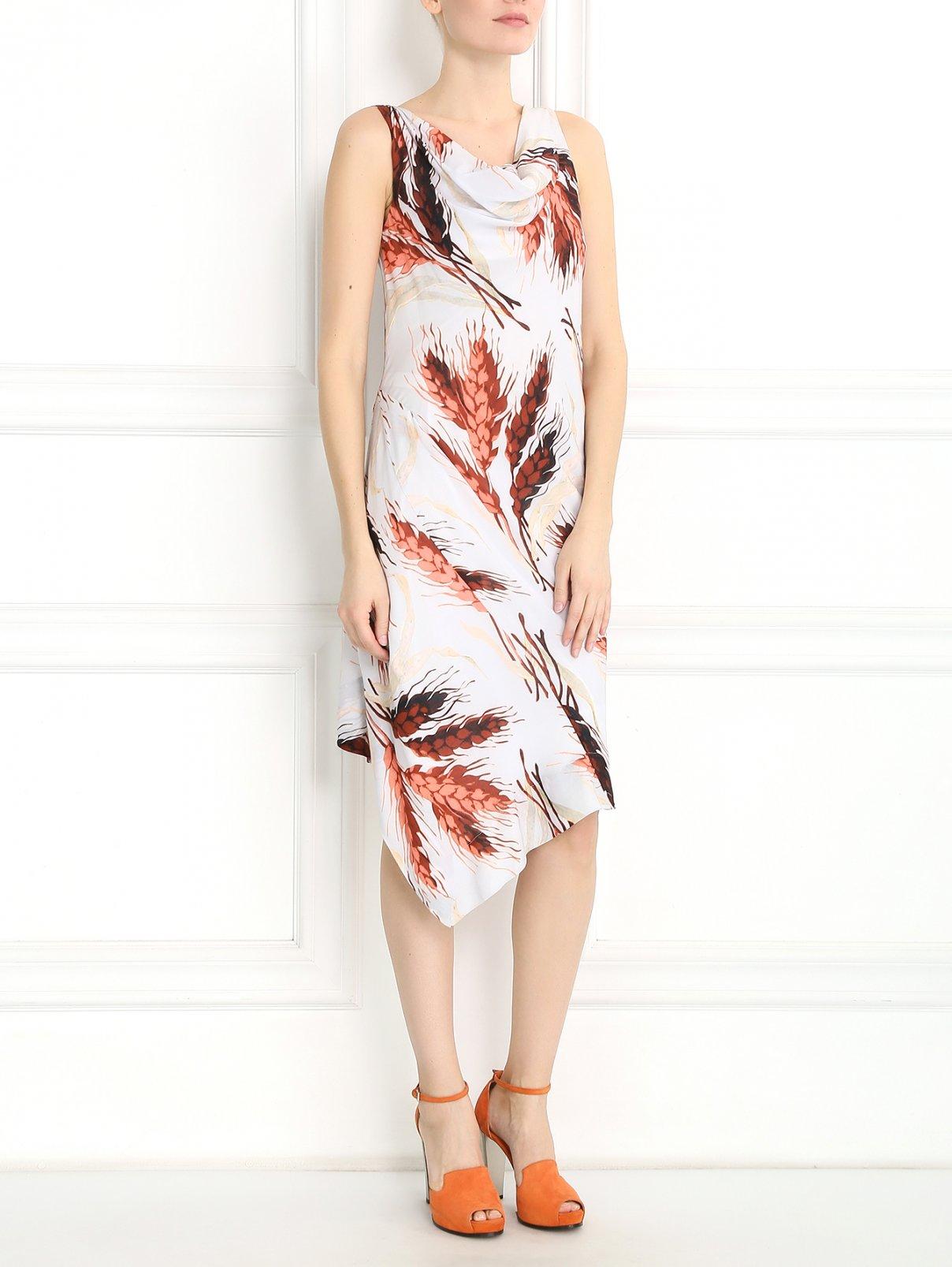 Платье-миди без рукавов с узором Vivienne Westwood  –  Модель Общий вид  – Цвет:  Серый