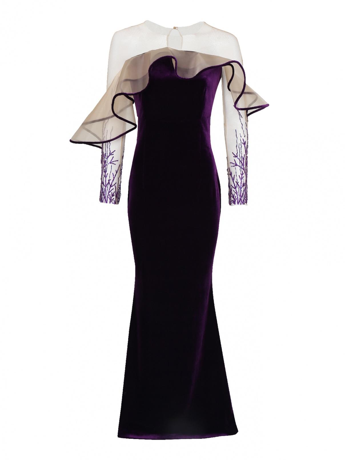 Платье бархатное с вышивкой бисером и пайетками Yanina  –  Общий вид  – Цвет:  Красный