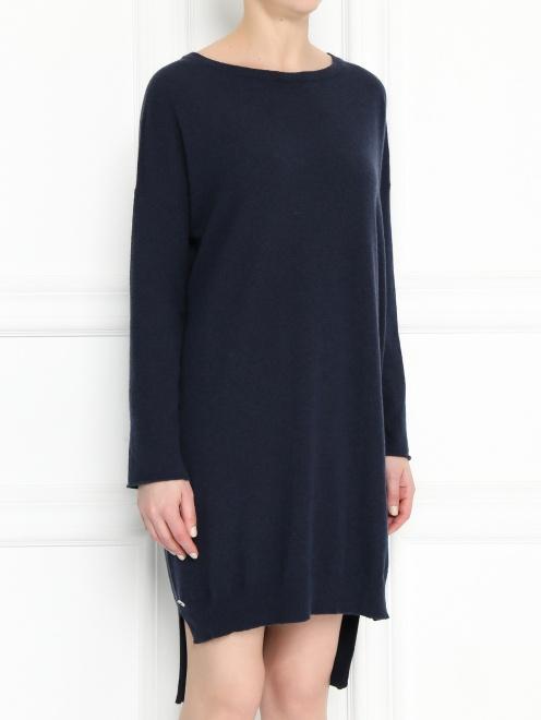 Платье из смешанной шерсти асимметричного кроя - МодельВерхНиз