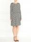 Трикотажное платье-миди из хлопка с узором Emporio Armani  –  Модель Общий вид