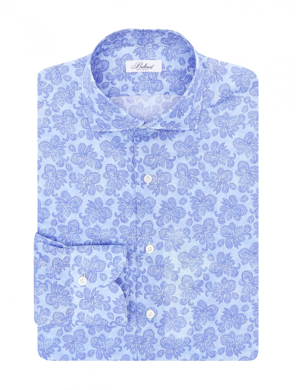 Рубашка из хлопка с узором Belvest  –  Общий вид  – Цвет:  Узор