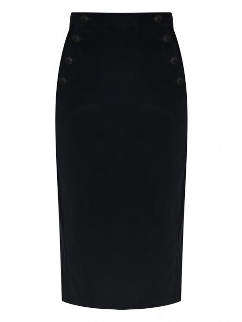 Вельветовая юбка-карандаш с карманами  - Общий вид