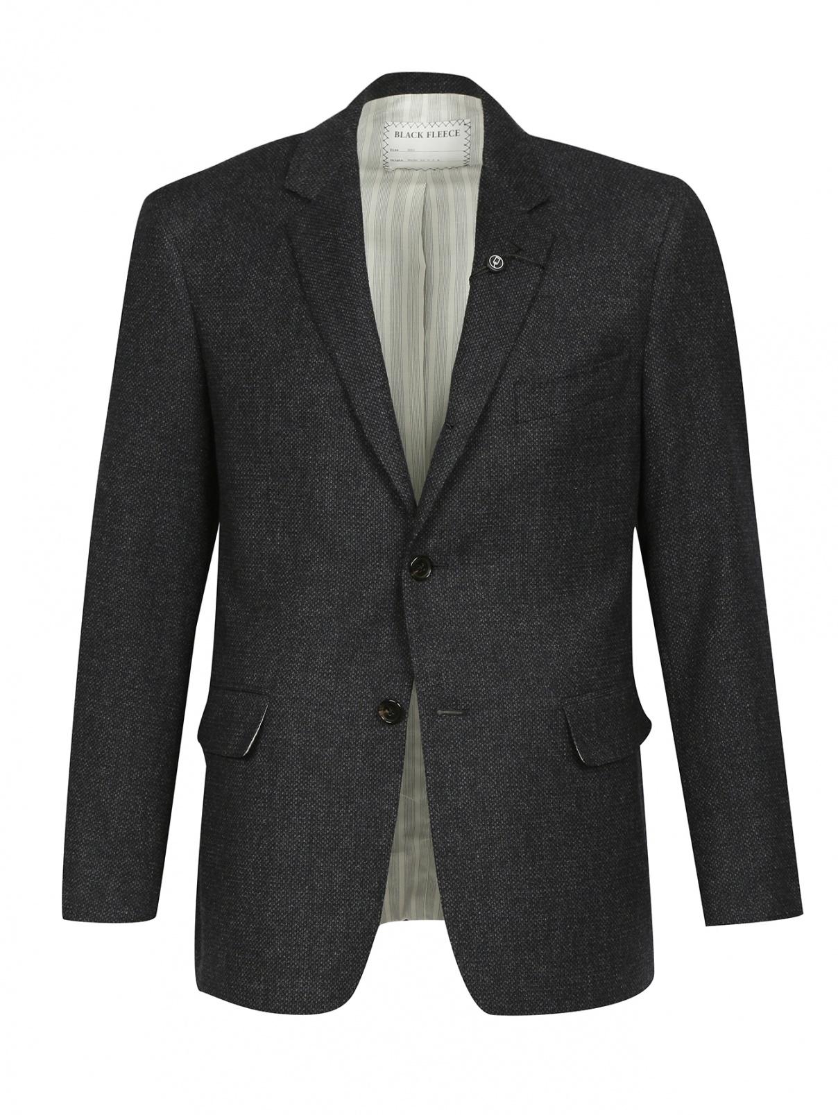 Однобортный пиджак из шерсти и шелка Brooks Brothers  –  Общий вид  – Цвет:  Синий