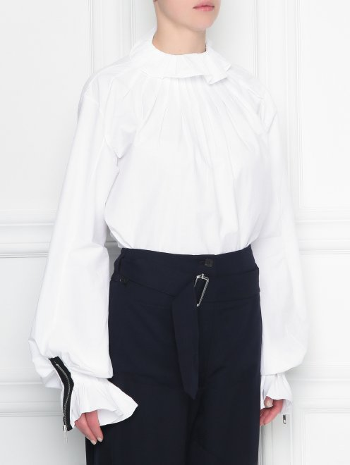 Блуза из хлопка с драпировкой - МодельВерхНиз
