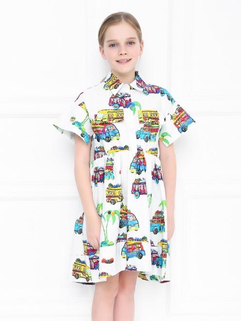 Платье-рубашка с узором - МодельВерхНиз