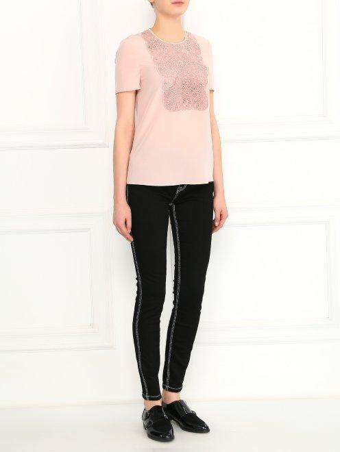 Блуза из шелка с ажурной вышивкой - Общий вид