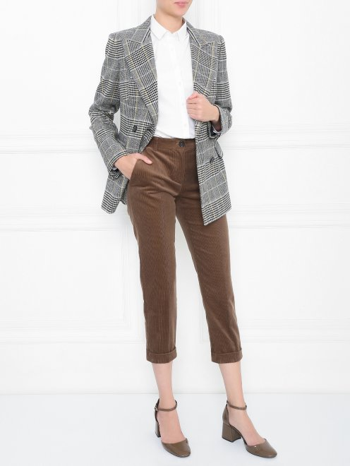 Вельветовые брюки из хлопка прямого кроя - Общий вид