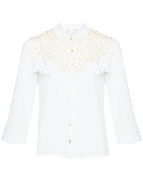 Рубашка из льна с кружевной отделкой и бахромой - Общий вид