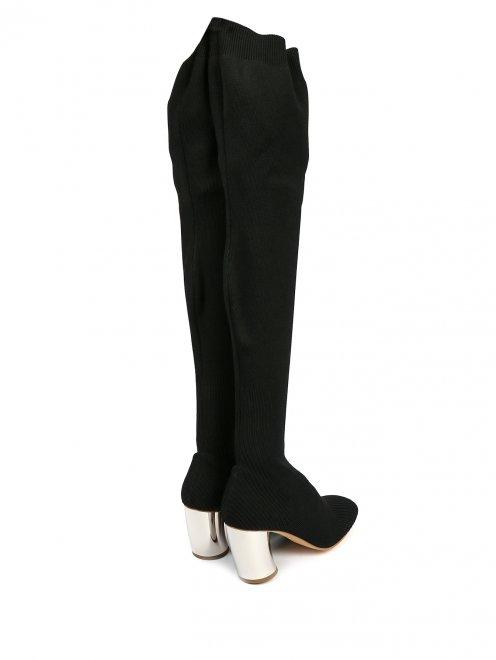 Трикотажные сапоги-ботфорты на контрастном каблуке - Обтравка2