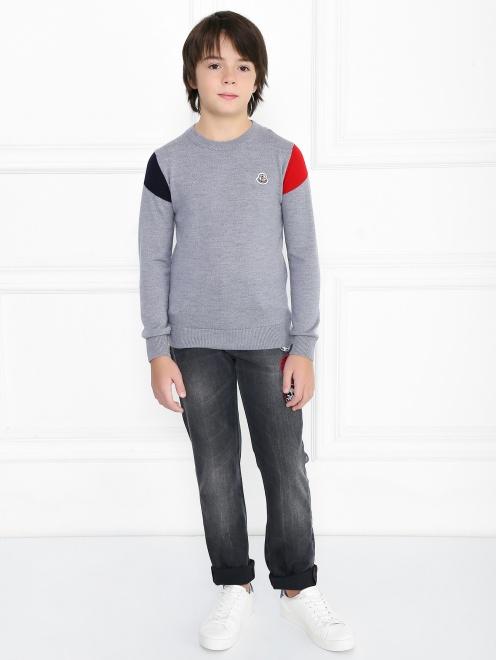 Джемпер из шерсти с декором на рукавах - Общий вид