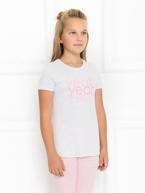 Хлопковая пижама с декором - МодельВерхНиз