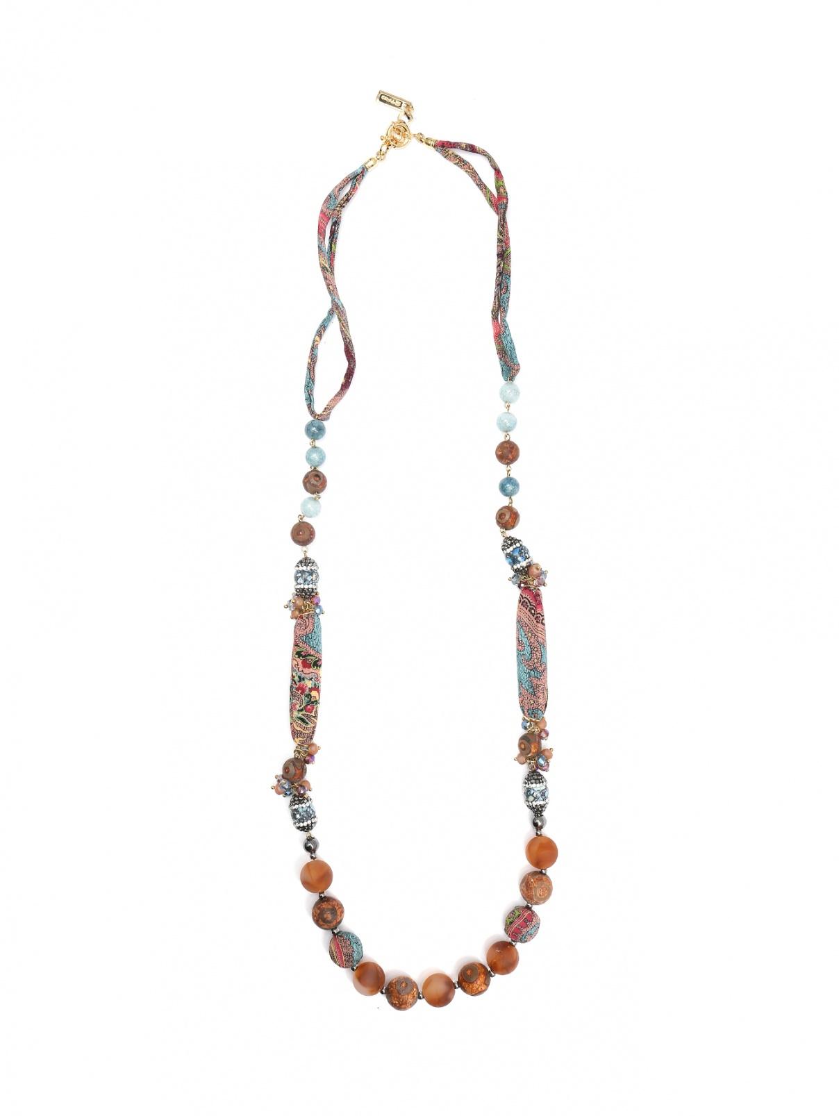 Ожерелье из шелка, стекла и камней с узором Etro  –  Общий вид  – Цвет:  Узор