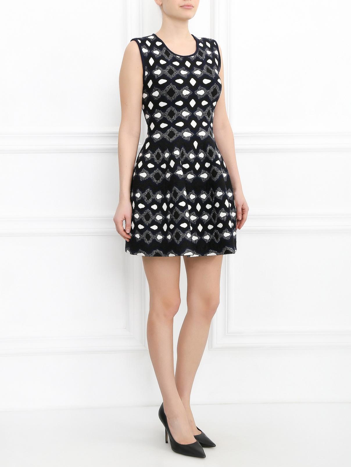 Платье-мини с узором GIG Couture  –  Модель Общий вид  – Цвет:  Черный
