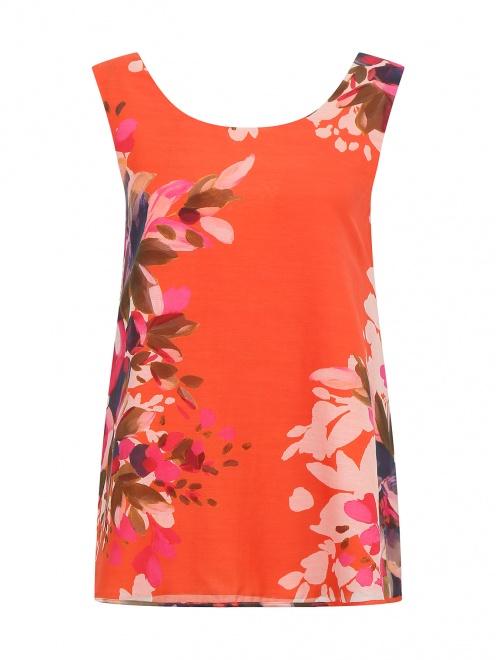 Блуза из хлопка и шелка с цветочным узором - Общий вид