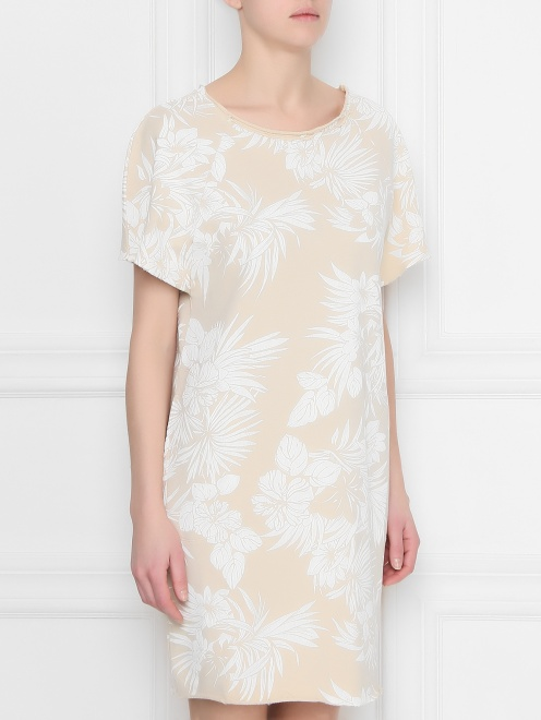 Платье хлопковое с цветочным узором - МодельВерхНиз