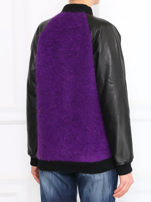 Куртка-бомбер из кожи и мохера - Модель Верх-Низ1