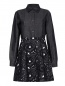 Платье-мини из хлопка и льна с вышивкой N21  –  Общий вид