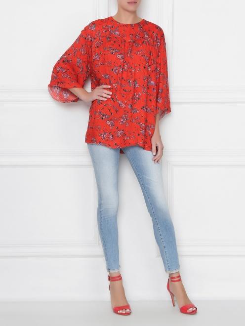 Блуза свободного кроя с узором - Общий вид