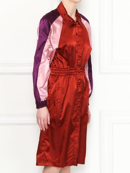Платье-миди с контрастной отделкой - МодельВерхНиз