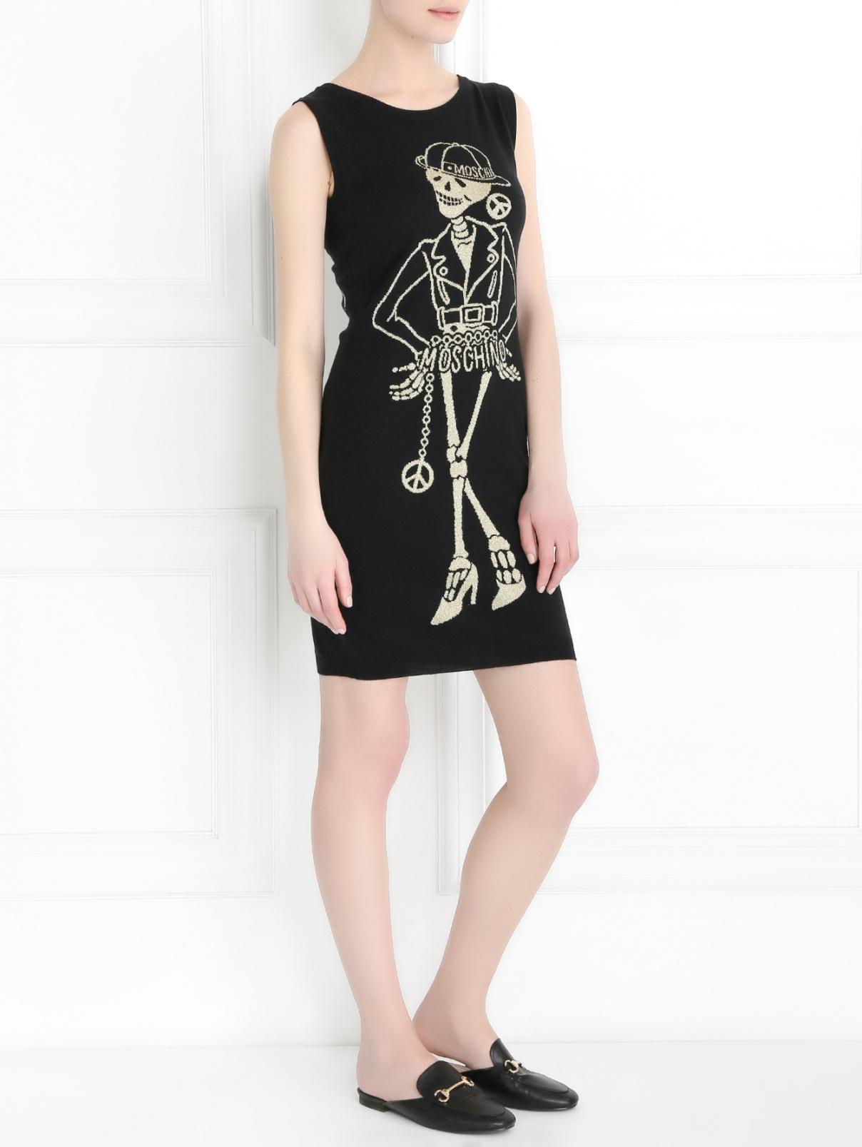 Трикотажное платье-мини с узором Moschino Couture  –  Модель Общий вид