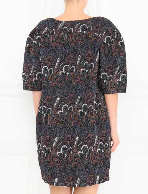 Платье с короткими рукавами и узором - Модель Верх-Низ1