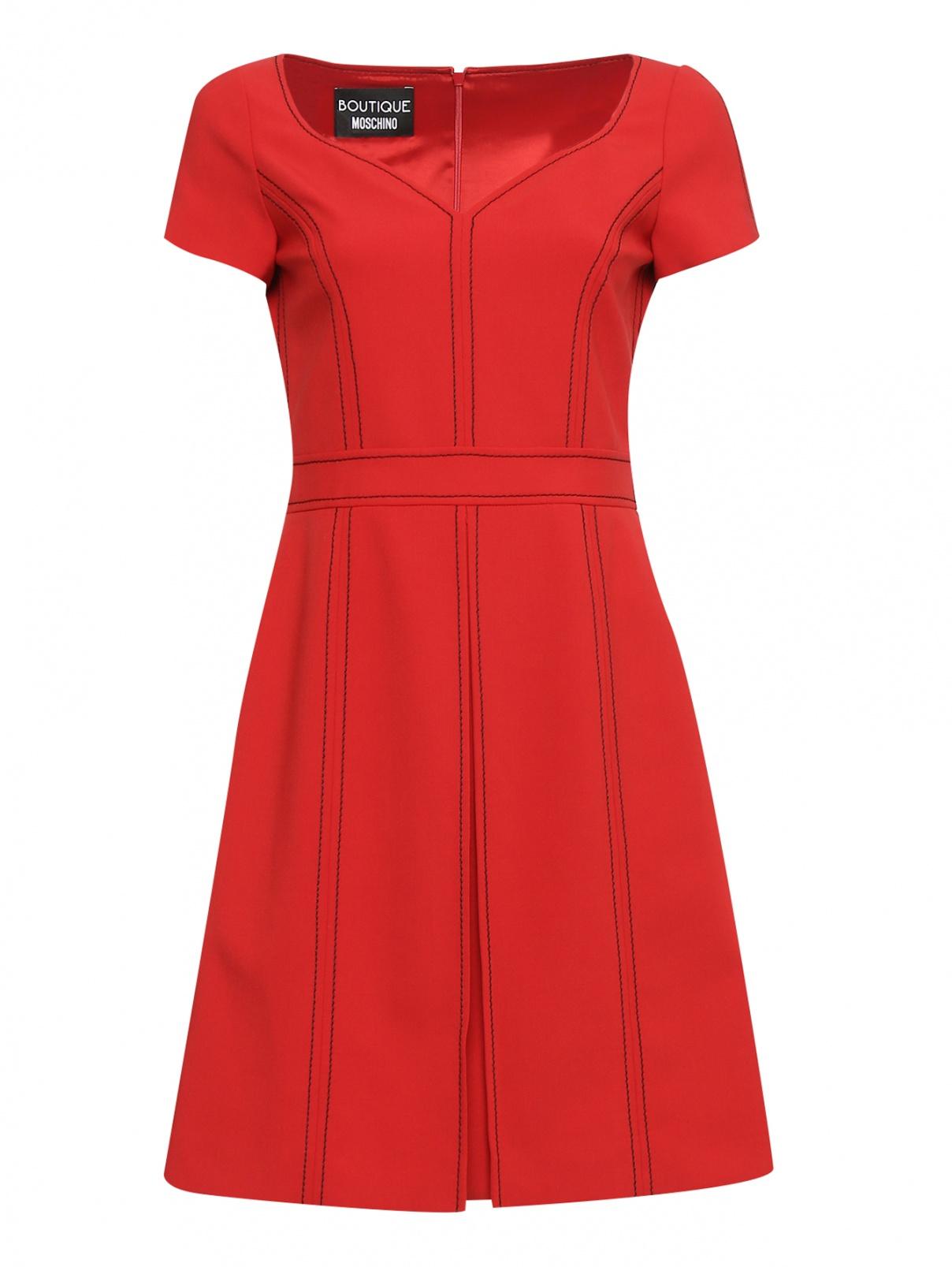 Платье с контрастной вышивкой BOUTIQUE MOSCHINO  –  Общий вид  – Цвет:  Красный