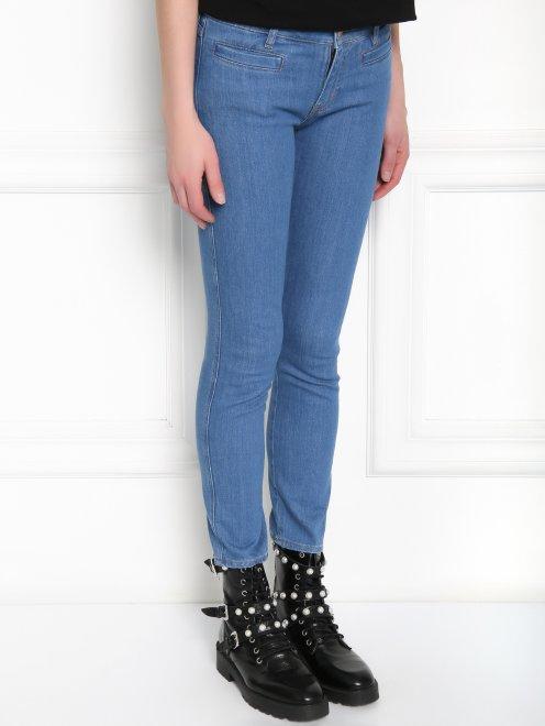 Укороченные узкие джинсы из плотного денима - МодельВерхНиз