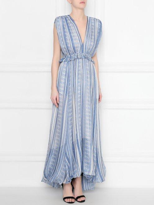 Платье  с узором полоска из шелка - МодельВерхНиз