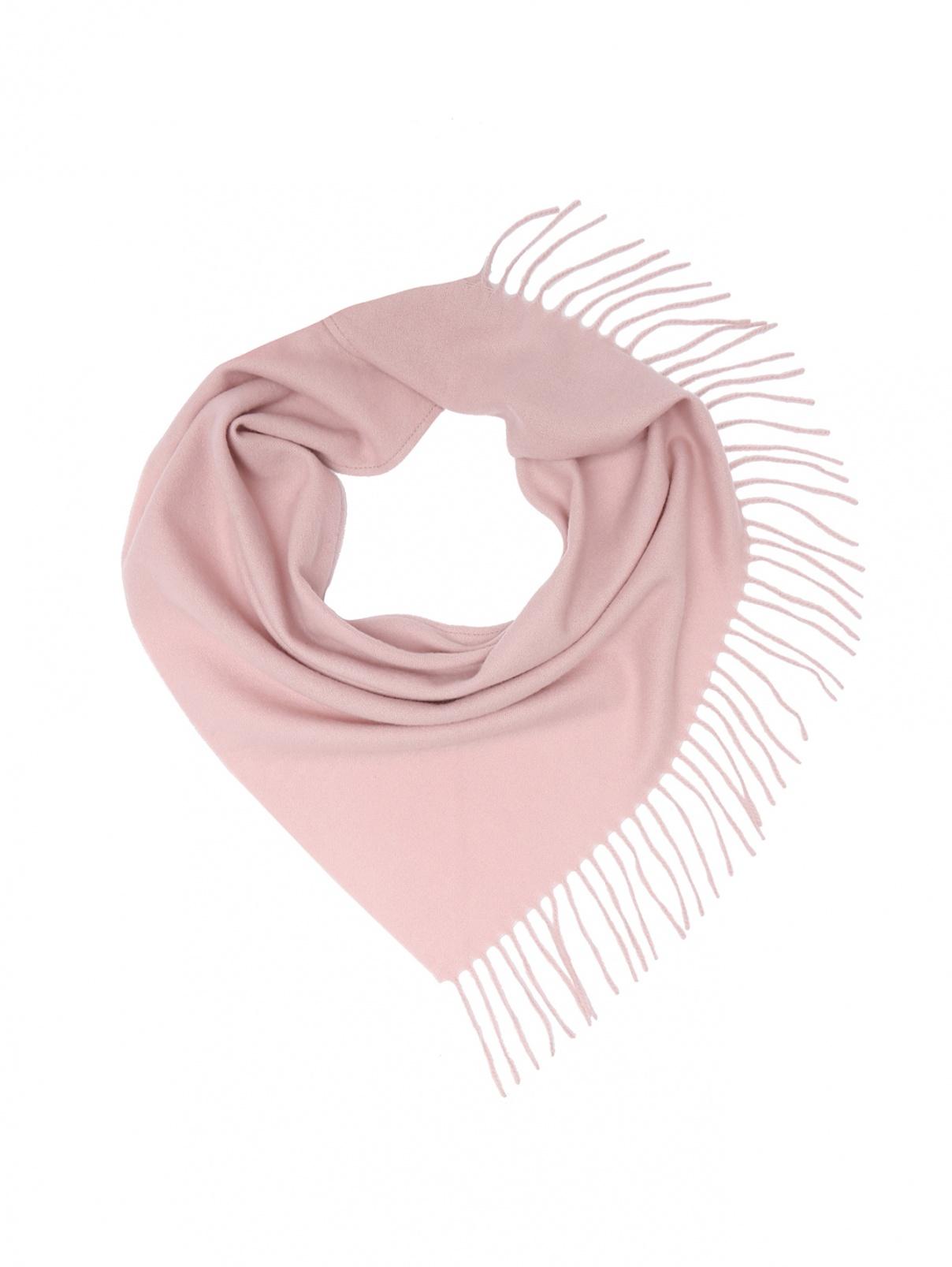 Платок из кашемира с бахромой Max&Co  –  Общий вид  – Цвет:  Розовый