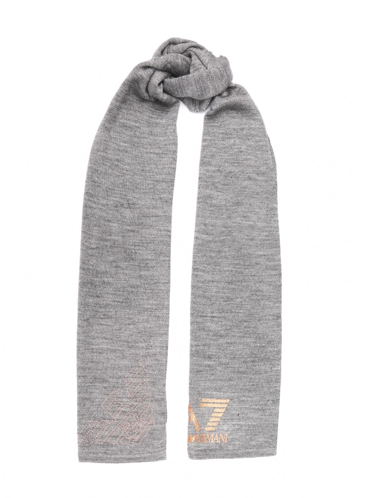 Шарф мелкой вязки с логотипом EA 7  –  Общий вид  – Цвет:  Серый
